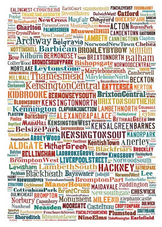 london map typography neighborhoods of london poster print