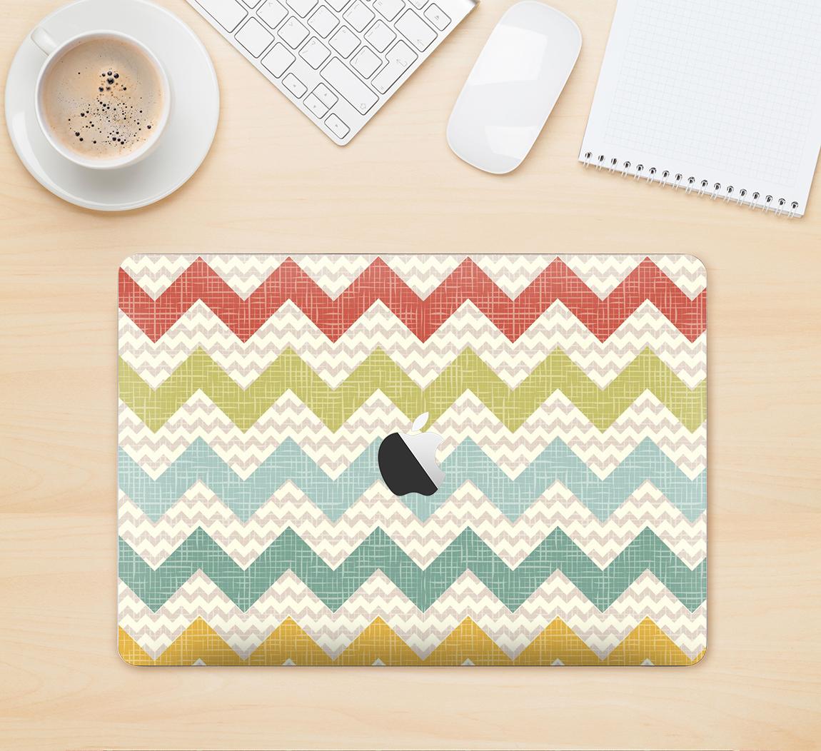 "The Vintage Summer Colored Chevron V4 Skin Kit for the 12"" Apple MacBook from DesignSkinz"