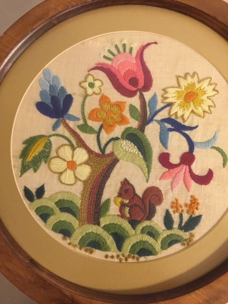 Vintage Crewel Embroidery Framed Picture Finished Non Glare Glass ...