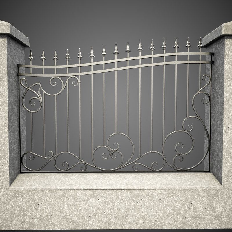 3d Wrought Iron Fence Metal Model Wrought Iron Fences Fence Wall Design Iron Gate Design