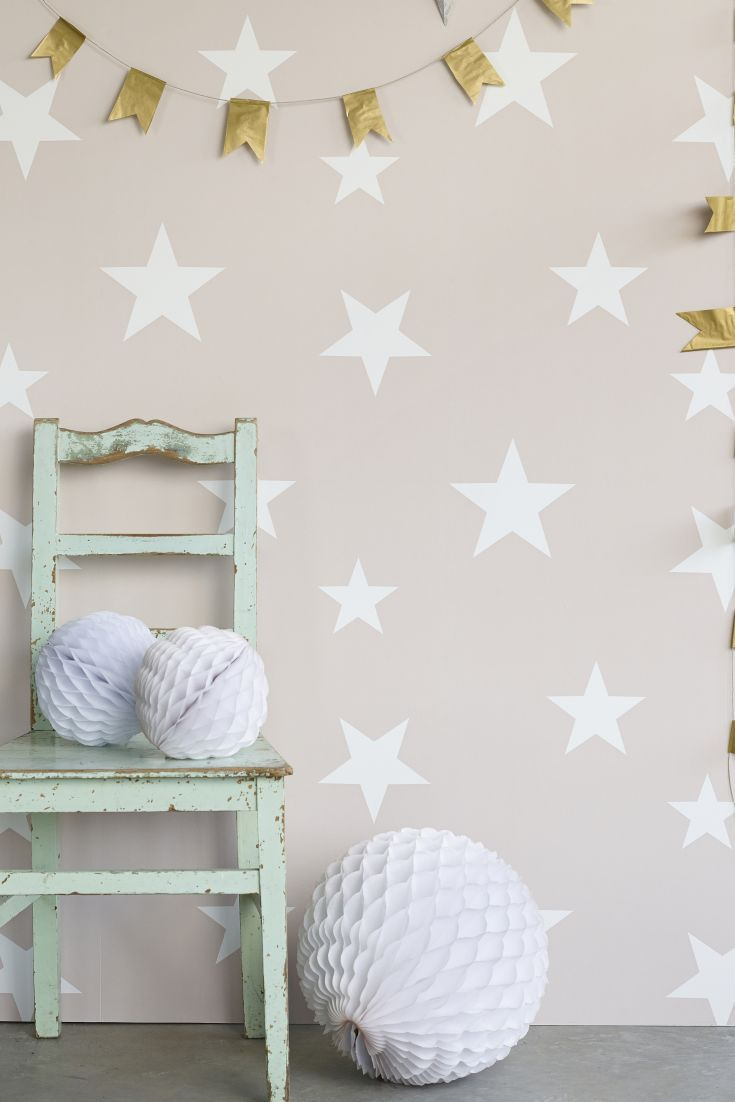 Stars By Hibou Home Is A Stylish Star Wallpaper Design Which Is An All Over Pattern With Matt White Stars Home Wallpaper Kids Wallpaper Kids Bedroom Wallpaper