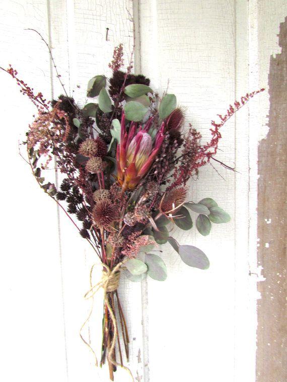 Dried Flower Bouquet Exotic Protea Wedding Arrangement Bridal ...