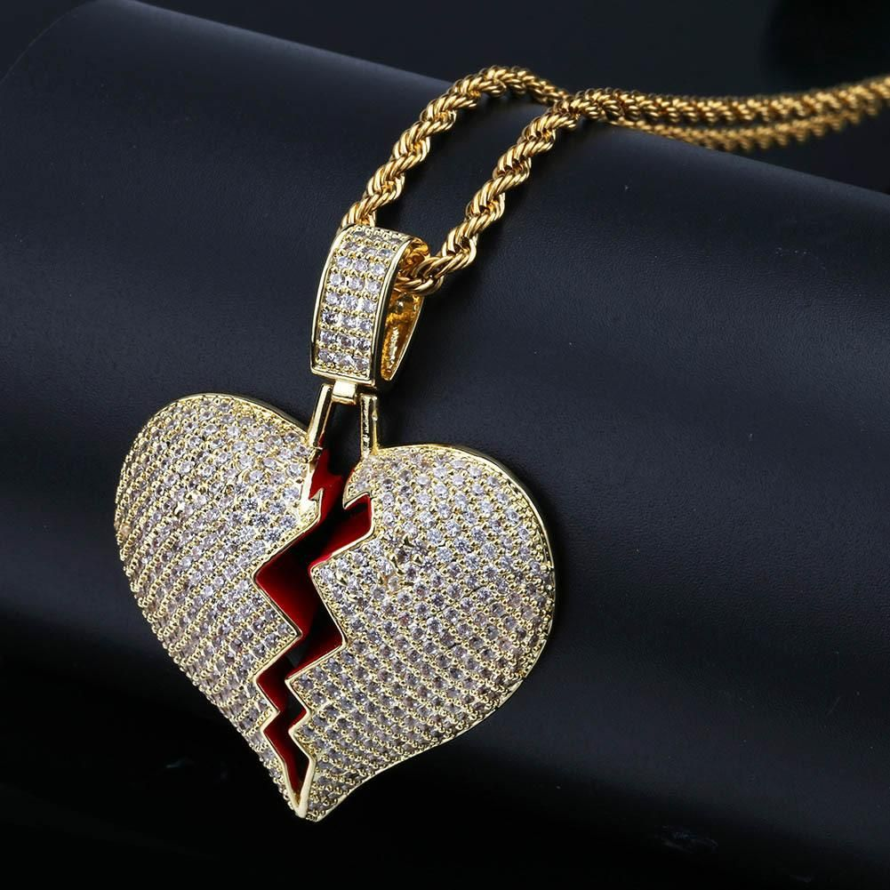 ce470f4b2dc3e high quality Heartbreak shape male and female couple pendant full ...