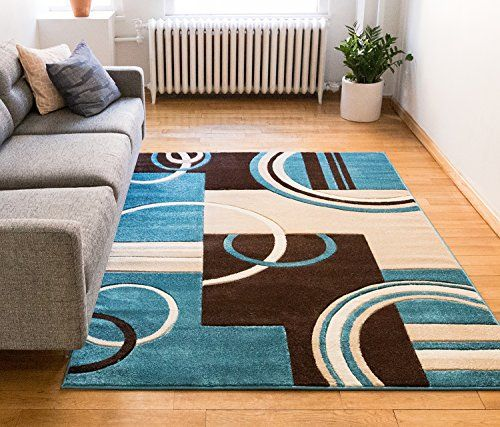 Echo Shapes Circles Blue Brown Modern Geometric Comfy Rugs In Living Room Brown Living Room Decor Room Rugs