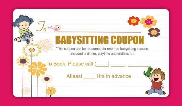 Babysitting coupon is an excellent way to pass on good wishes to new