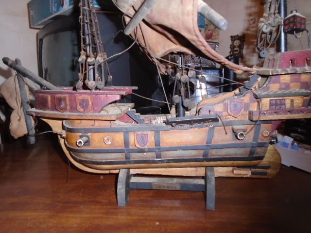 Vintage Wooden Model Santa Maria Ship
