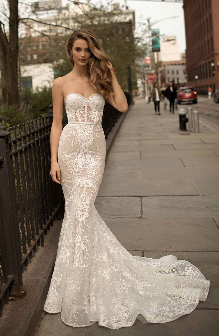 Berta strapless wedding gown medium train with full embellishment sexy elegant fit and flare wedding dress #weddingdress #weddinggown #weddingdresses ,wedding dresses ,wedding gowns , mermaid wedding dress