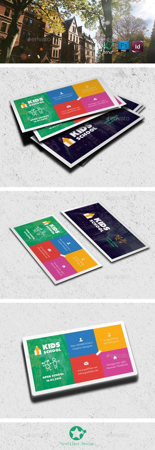 Kids School Business Card Templates | Card templates, Business cards ...
