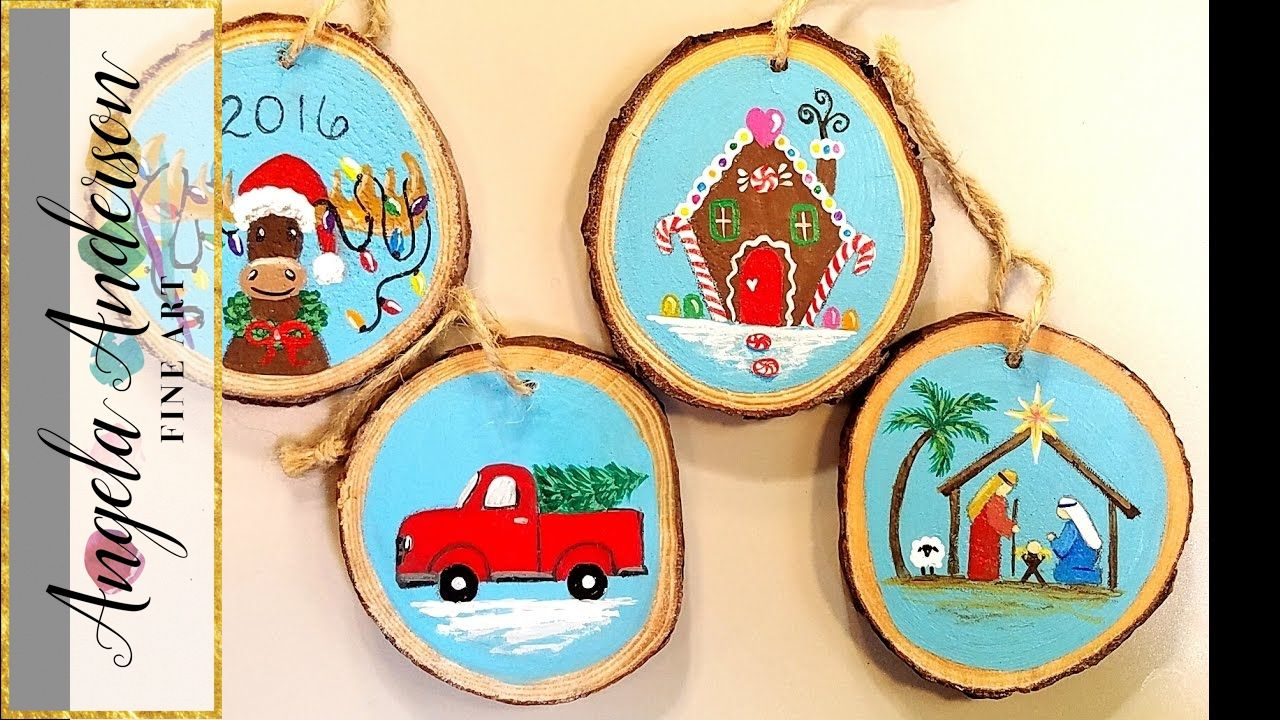 Wooden Christmas Ornaments Acrylic Painting Tutorial