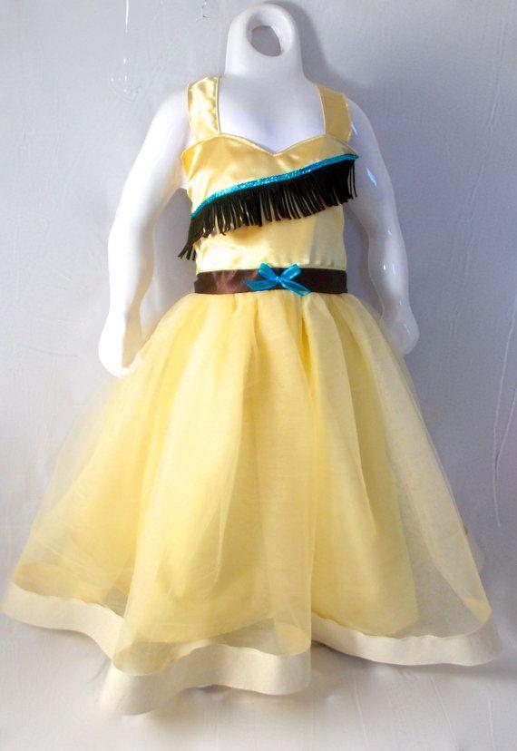 Pocahontas Dress: Tutu Dress beige brown & turquoise