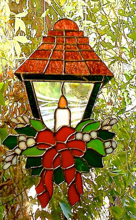 Heirloom Christmas Victorian Lantern Window Hanging Stained glass