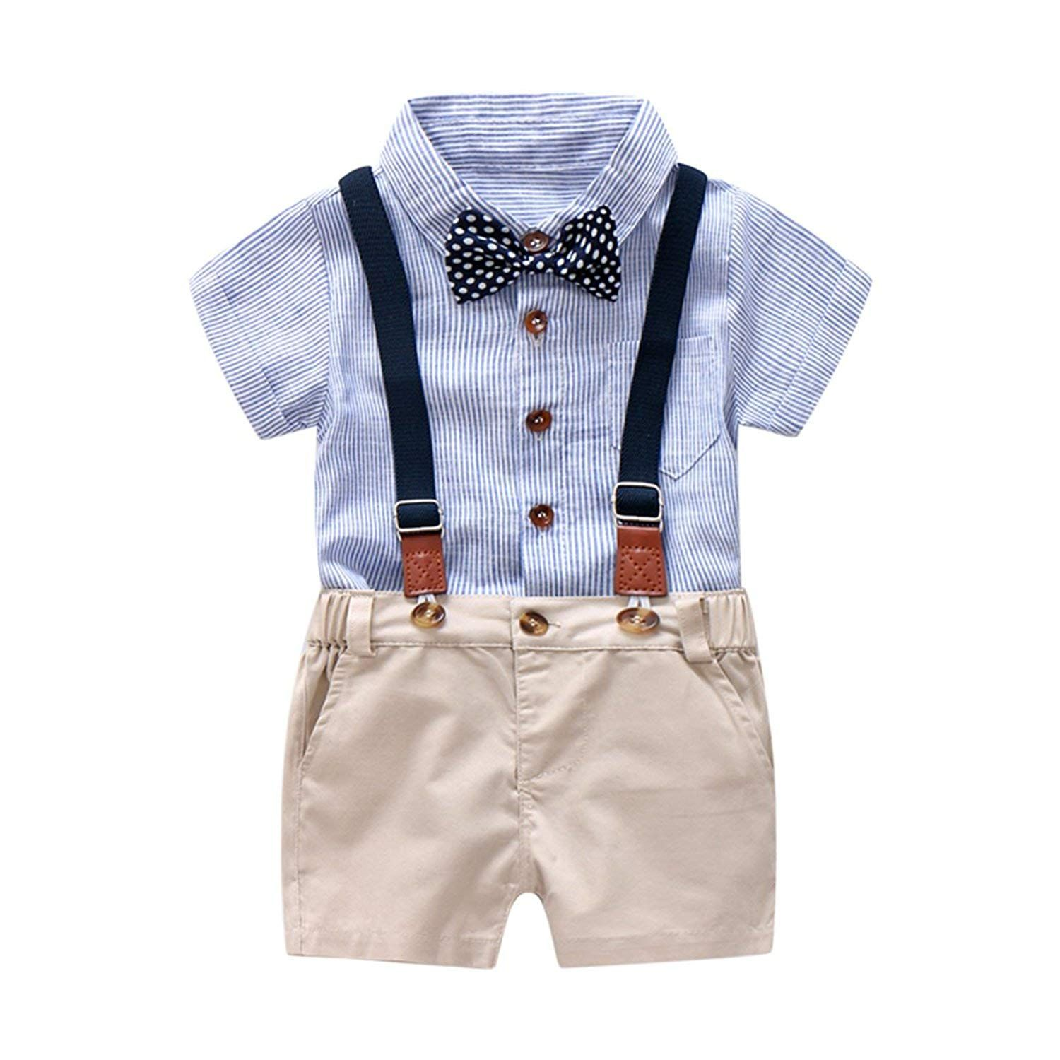 Baby Boys Gentleman Outfits Suits Infant Short Sleeve Shirt+Bib Pants+Bow Tie Overalls Clothes Set