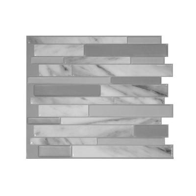 Smart Tiles 11.55 in. H x 9.65 in. W Peel and Stick Mosaic Decorative Wall Tile Milano Carrera in Grays-SM1060-1 - The Home Depot