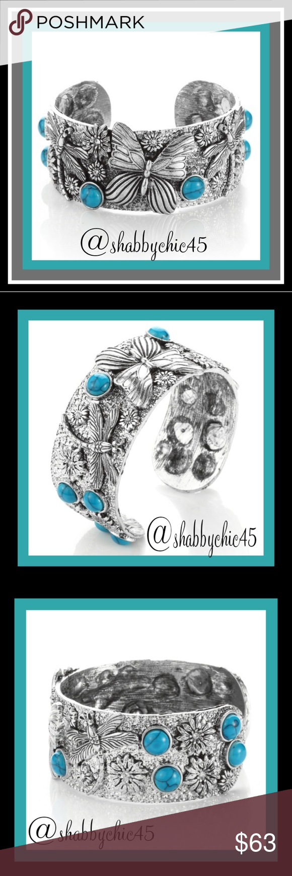 Southwestern Turquoise Butterfly Cuff Bracelet This unique cuff bracelet is one of a kind which features carved butterflie,  dragonflies, and flower settings accented with turquoise hue beads setting around the bracelet.   Diameter is 6.2 cm and outer diameter is 6.8 cm.  Weight is 95 grams  Smoke free home . Open to reasonable offers unless price is marked as firm. Boutique  Jewelry Bracelets