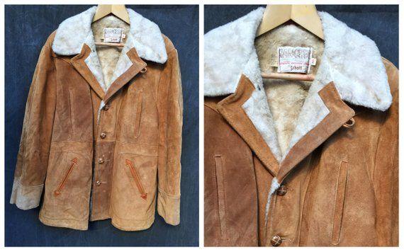 ee36ab046b5 70 s Schott Bros NYC Rancher Suede Jacket Sherpa Lined Coat Western Wear -  Men s 46 Size XL