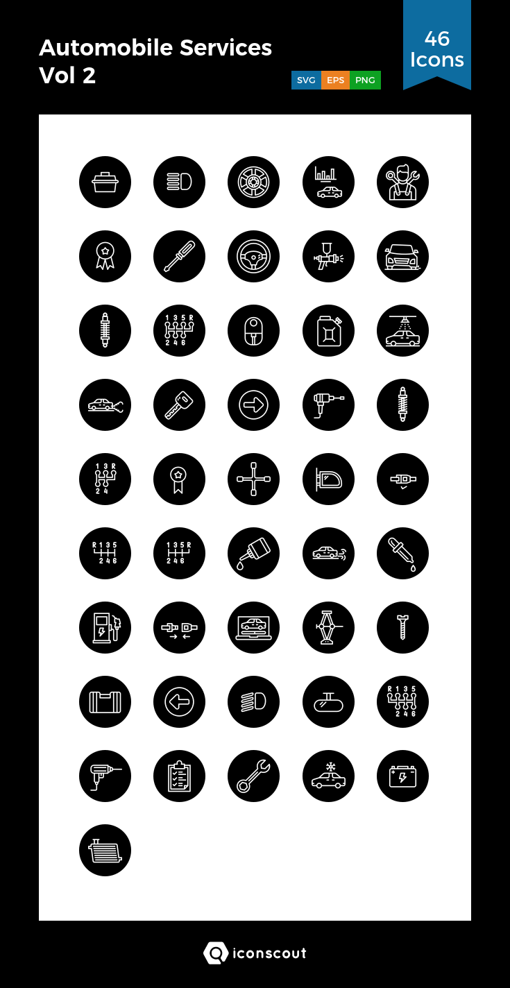 Automobile Services Vol 2 Icon Pack 46 Line Icons Icon