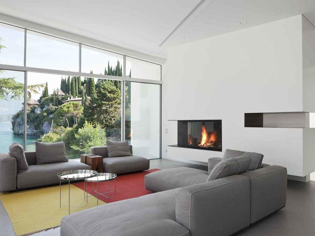 Erstaunlich Fensterfront Sammlung Von Corner Fireplace Nice Graue Sofagarnitur Nice Gray