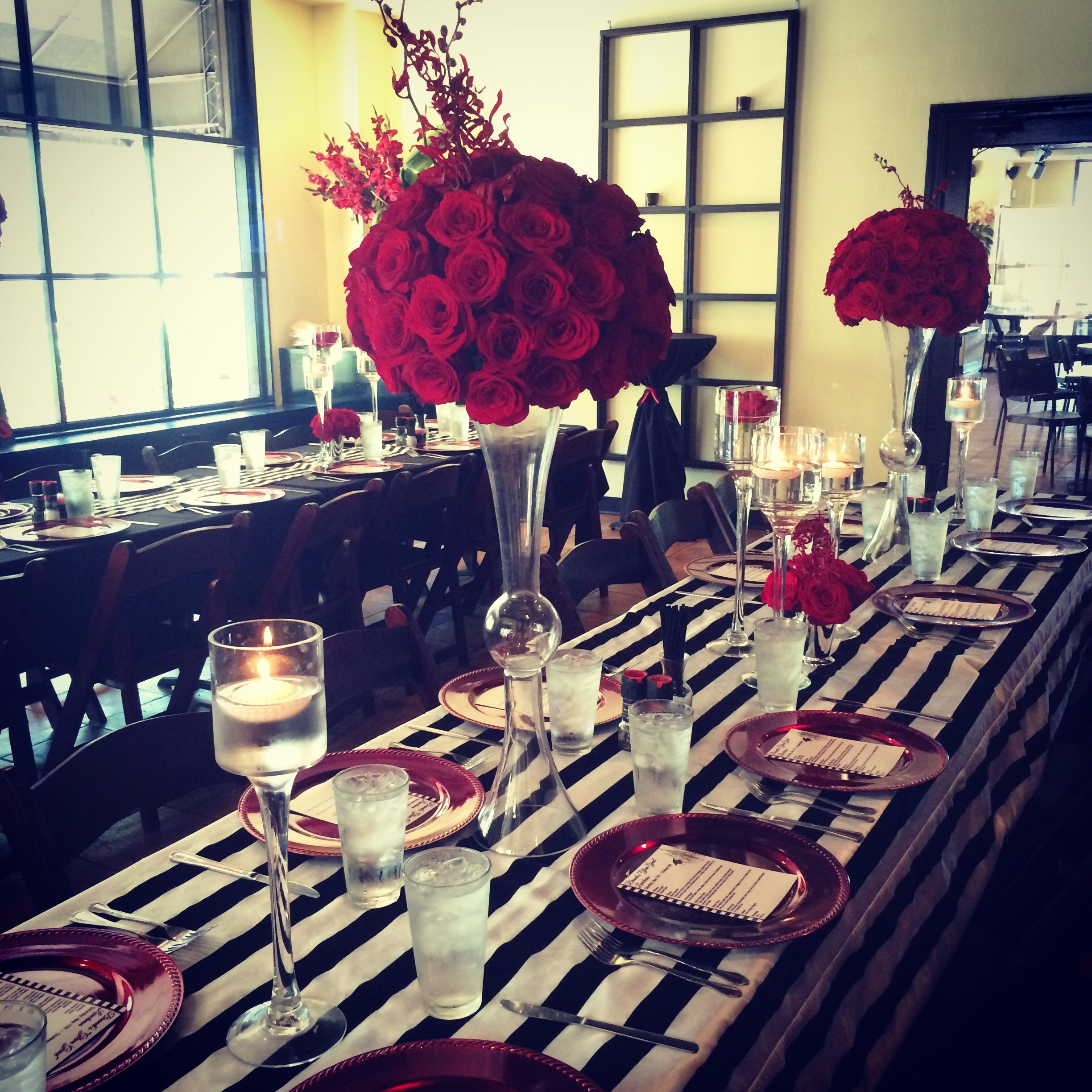 Black White Amp Red Dinner Party By Chloe Cook Events Pink