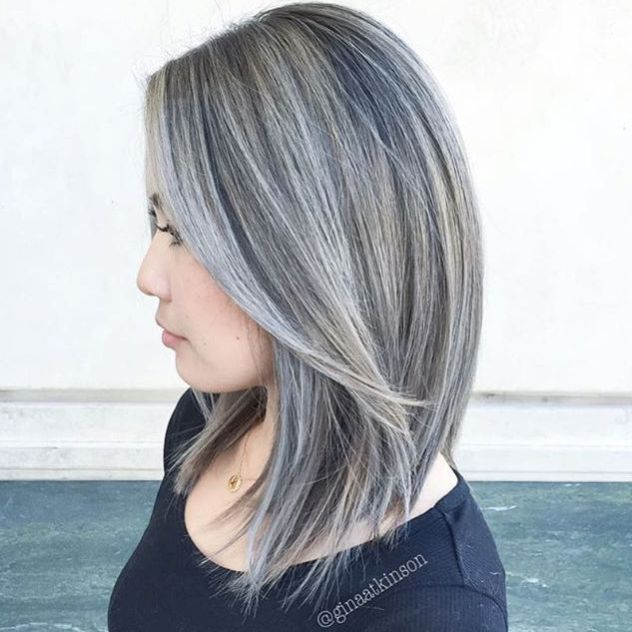 60 Shades Of Grey Silver And White Highlights For Eternal Youth Gray Balayage Blending Gray Hair Transition To Gray Hair