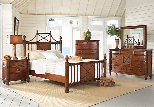 Island Breeze Queen Brown 5pc Panel Bedroom At Home