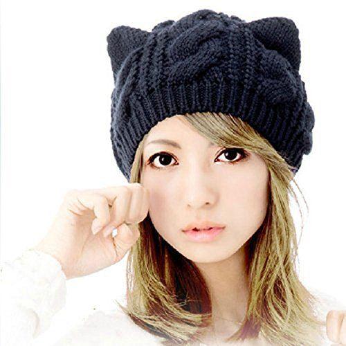 3774b3e2c41 Dealzip Inc Black Slouchy Chunky Soft Stretch Cute Cat Ear Design Winter  Warm Cable Knit Women