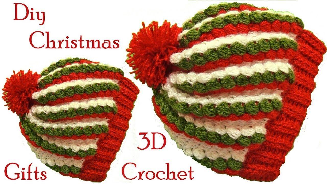 Gorro a Crochet punto 3D gomitas colores de Navidad tejido ...
