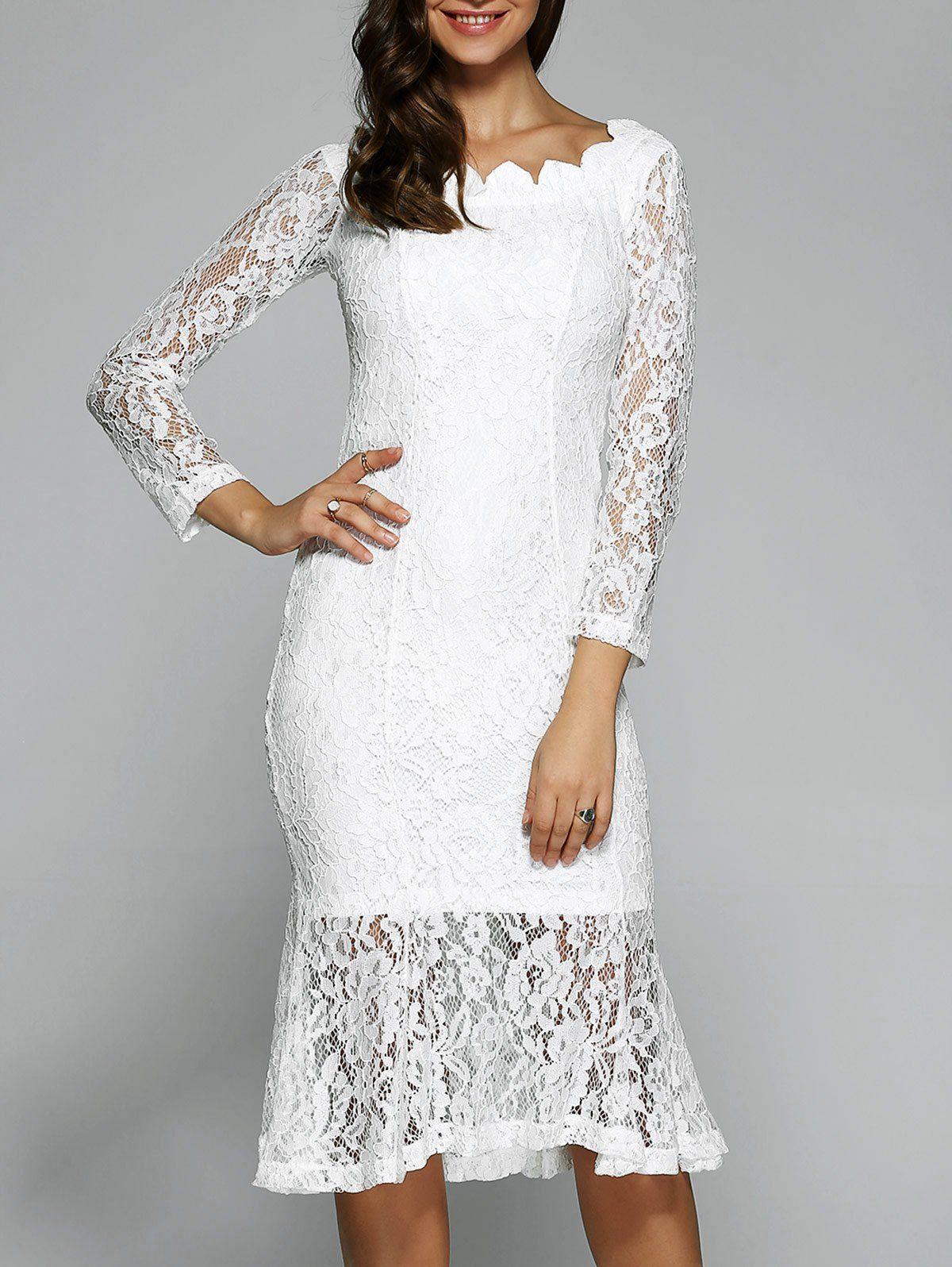 Long Sleeve Fishtail Lace Dress Midi Dresses Pinterest Dresses