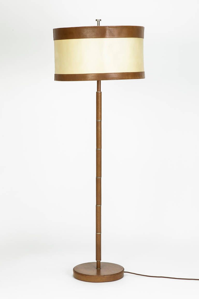 French Leather Floor Lamp Attributed To Hermes 1940s 1stdibs Com Floor Lamp Vintage Floor Lamp French Floor Lamp