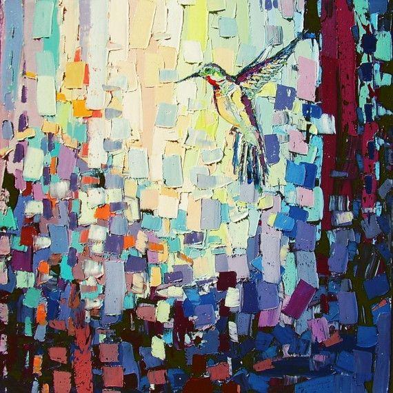 Taking Flight - 24x24x1.5 abstract hummingbird original oil painting by Aja ebsq