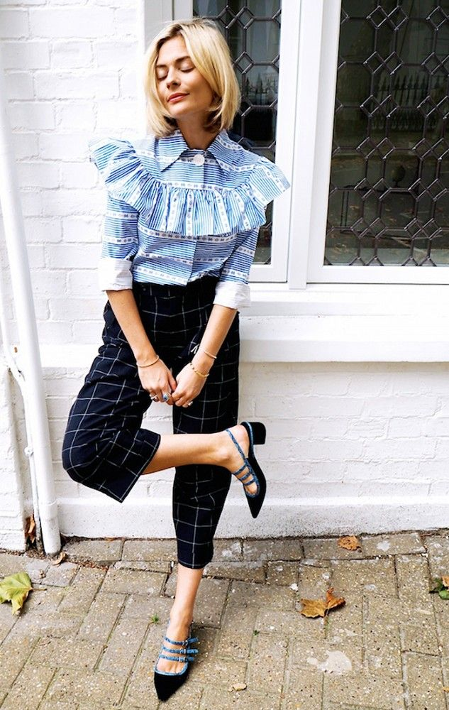 4dafa212f6fcdf Pandora Sykes wears a striped ruffle blouse with checkered cropped trousers.