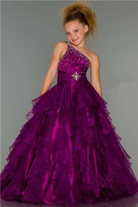 Ball One Shoulder Long Purple Beaded Organza Ruffle Little Girl ...