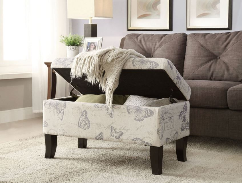 Storage Ottoman Bench Foot Stool Seat Footrest Fabric Living Room ...