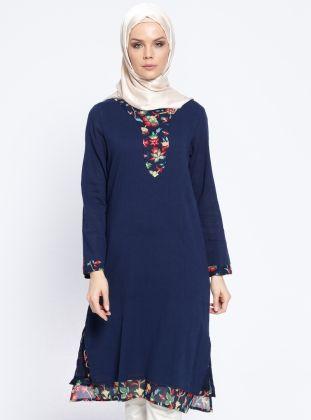 c30a125eae20b Desenli Şile Bezi Elbise - Lacivert - Çıkrıkçı | kiyafet | Elbiseler ...