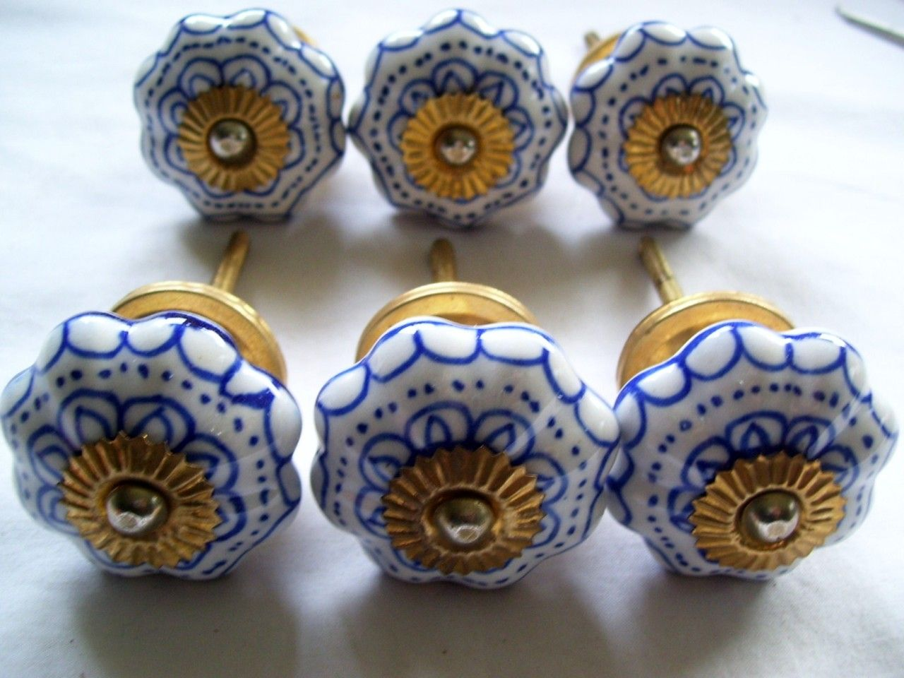 6 X 4cm Blue White Ceramic Door Handles S Item Condition New Quany More Than 10 Available 18 Sold Au 23 99 Roximately Us 24 74