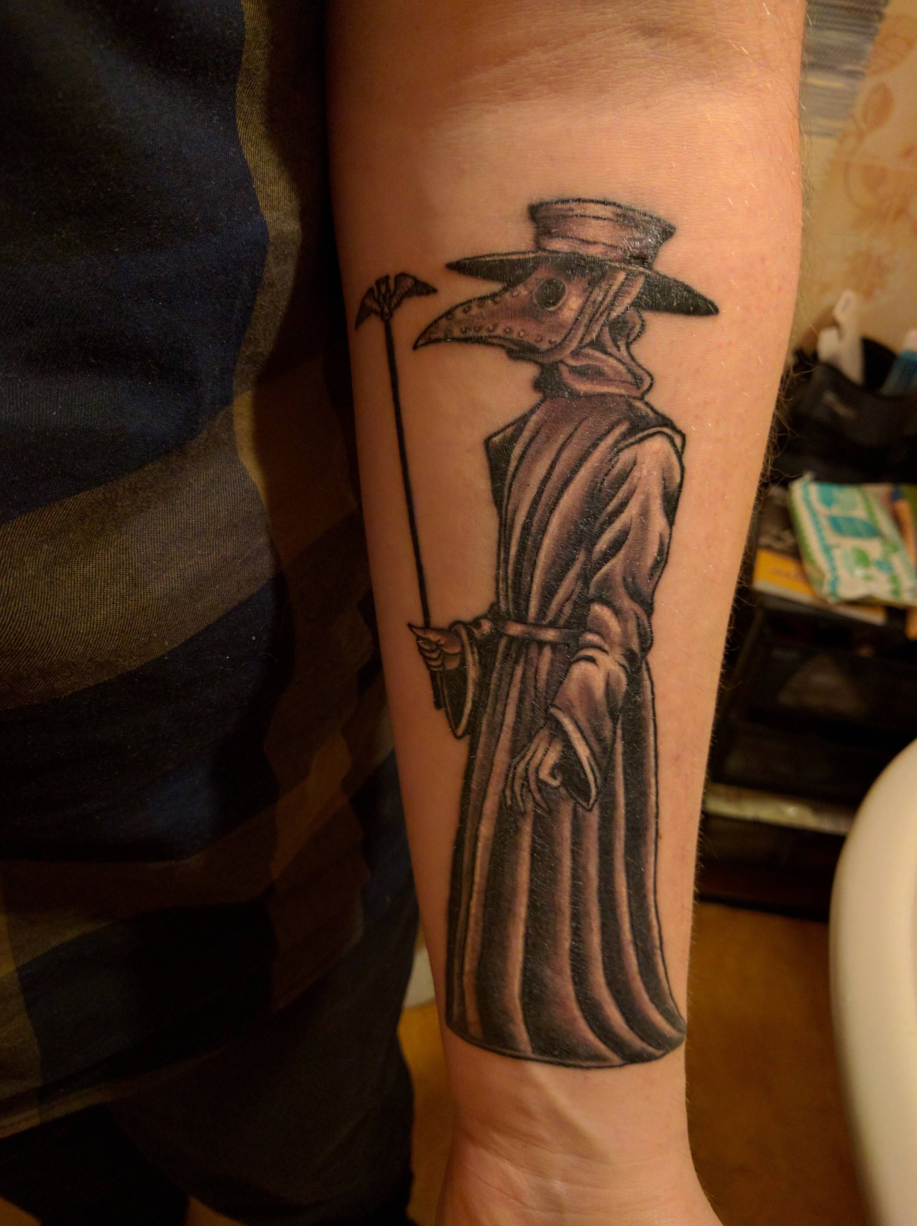 1st tattoo, Plague doctor done by Dimitrii at Badline