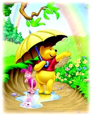Pooh and Piglet playing in the rain