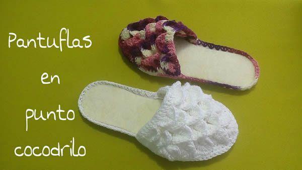 DIY Pantuflas en punto cocodrilo