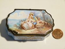 Antique 19th C Samson French LOVERS Hand Painted Enamel