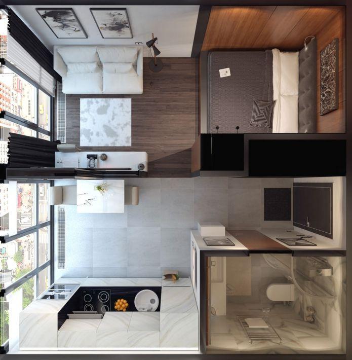 планировка студии 30 кв. м.  modular  Pinterest  원룸 ...