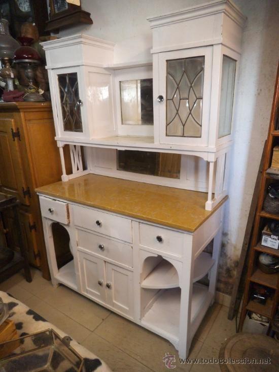 Mueble de cocina en blanco antiguo antig edades muebles for Muebles antiguos de cocina de madera