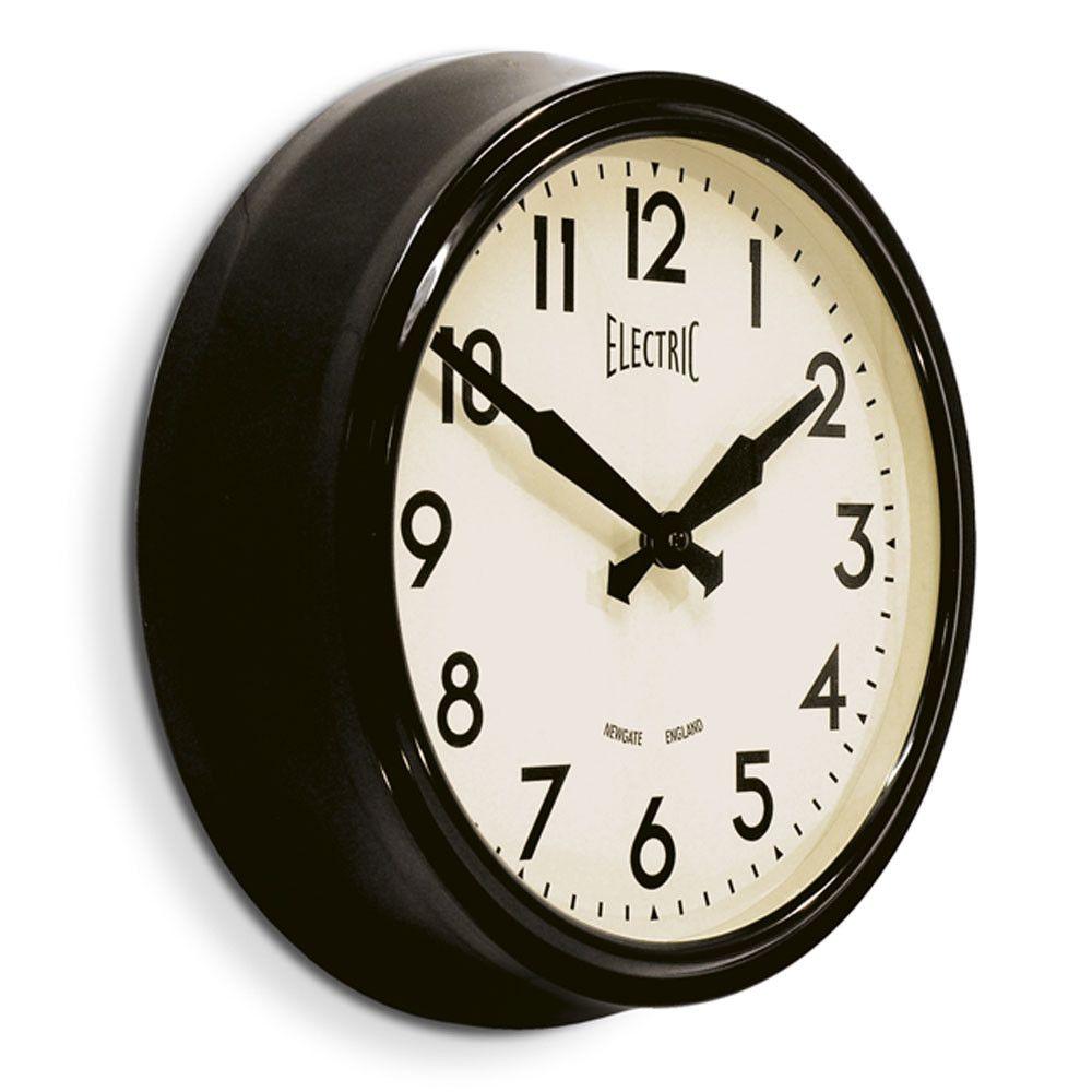 acheter newgate clocks horloge lectrique des 50 39 s noir. Black Bedroom Furniture Sets. Home Design Ideas