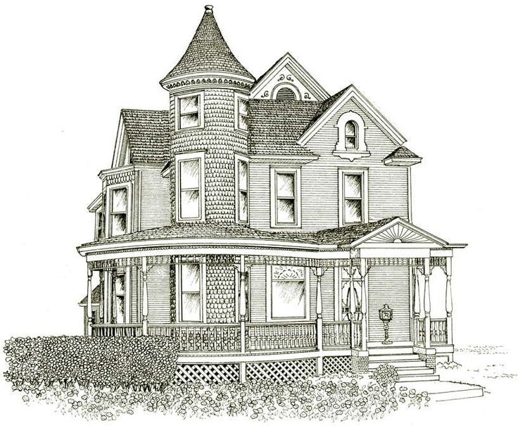 Line Art Images Of Houses : Victorian house line drawing design basic on inside