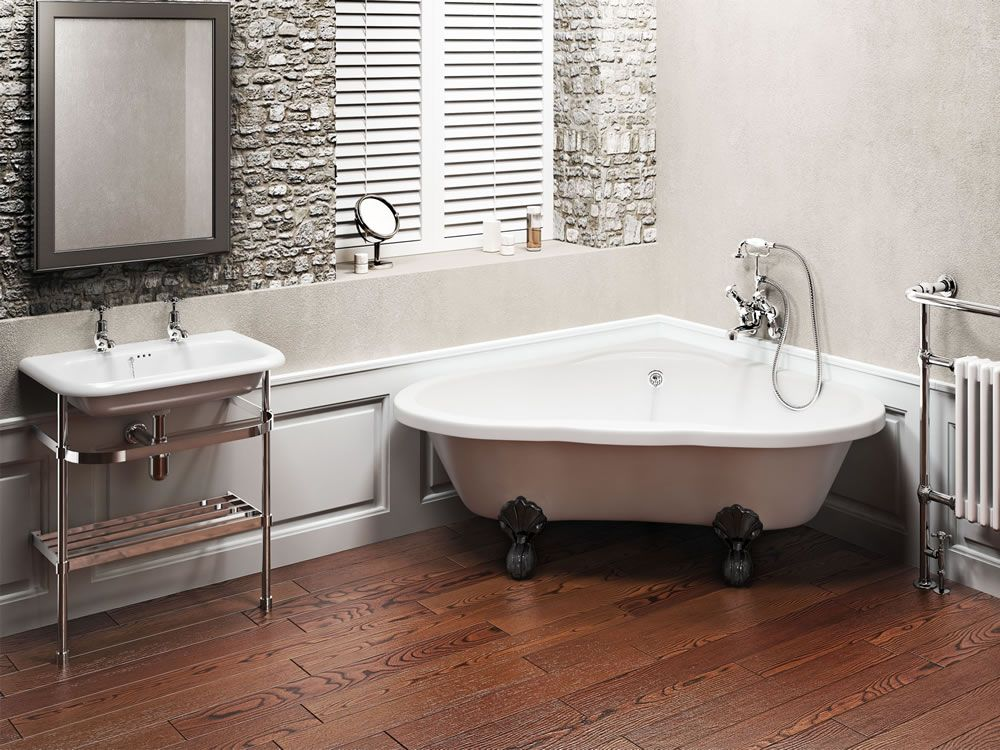 Corner claw foot bathtub clearwater t11f l4b clearwater traditional heart free standing for Bathroom vanities clearwater fl