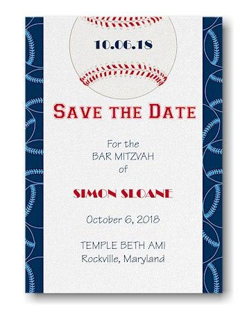 sports star baseball save the date magnet bar and bat mitzvah