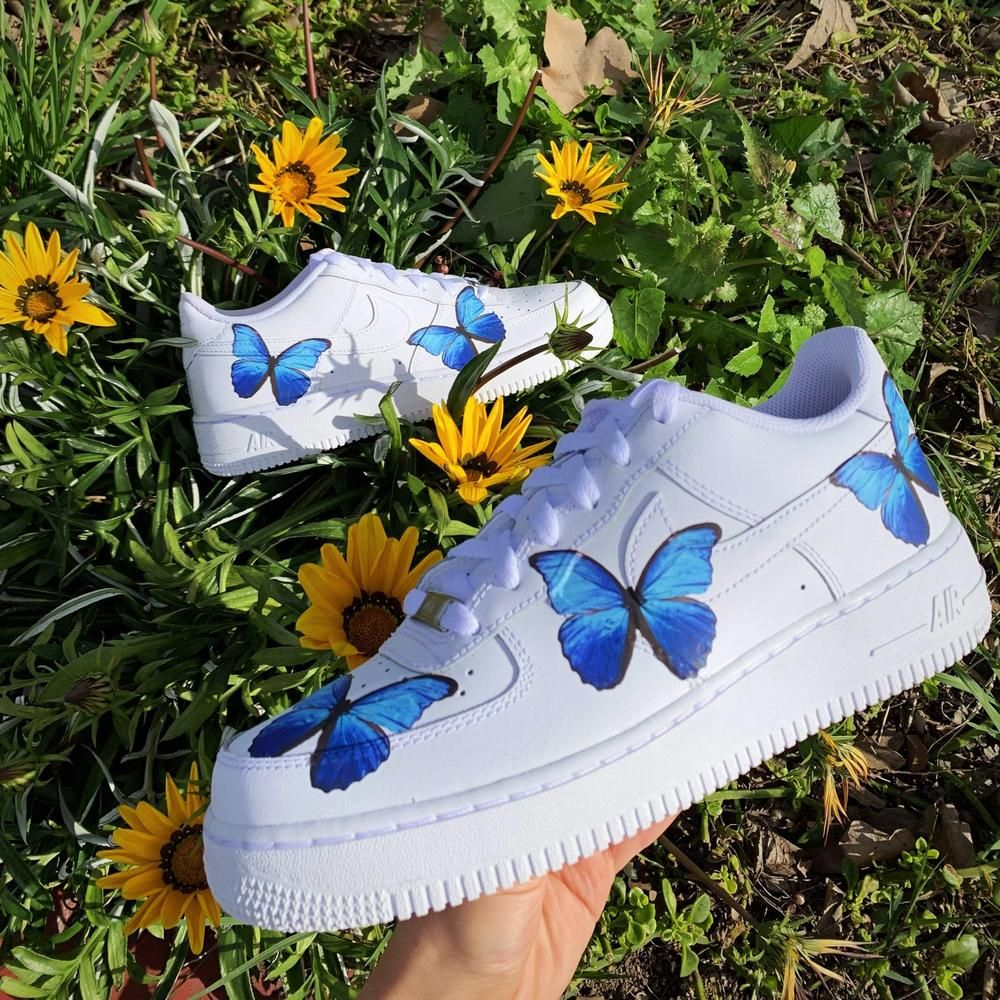 Blue Butterfly AF1 Hype shoes, Aesthetic shoes, Nike