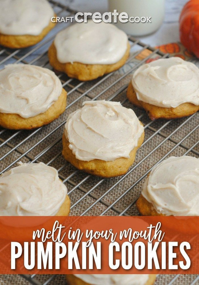 If you love pumpkin, you have to make our ultimate melt in your mouth pumpkin cookie recipe! These pumpkin cookies are so delicious and easy to make! They melt in your mouth and leave your taste buds wanting more! Try making these pumpkin cookies for a yummy fall dessert! #craftcreatecook #fall #desserts #recipes #cookies #pumpkin