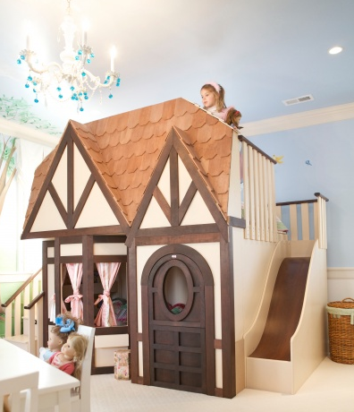 Amy Cote Cardenas shares this princess cottage playhouse bedroom complete with slide and balcony on Pinterest from Sweet Dream Children's Interiors.
