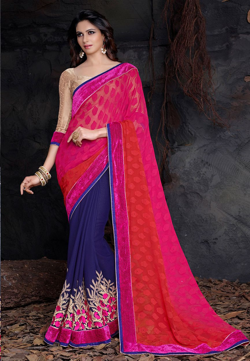 Fuchsia Faux Georgette and Faux Georgette Jacquard Saree with Blouse