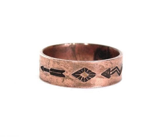 Vintage Solid Copper Mens Ring Band w Native American Indian Designs Wedding Promise Size 8.5