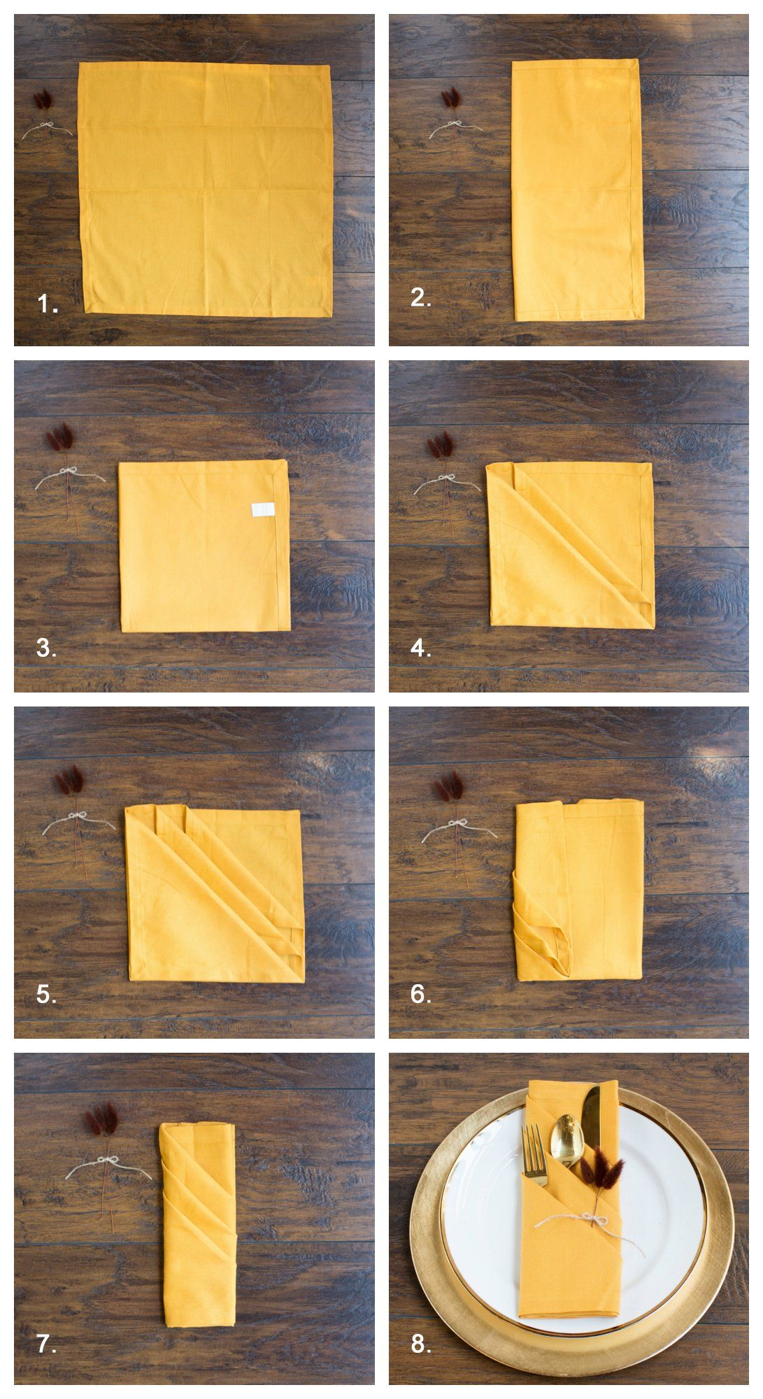 3 Pretty Ways to Fold Napkins for Your Fall Tablescape #foldingnapkins